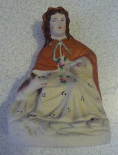 UNUSUAL VICTORIAN PAINTED PARIAN RED RIDING HOOD & WOLF STAFFORDSHIRE DISPLAY