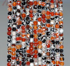 4MM  AGATE GEMSTONE ICE MULTI COLOR FACETED ROUND LOOSE BEADS 15""