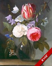 ROSES & TULIPS FLOWERS IN A GLASS VASE PAINTING ART REAL CANVAS GICLEE PRINT