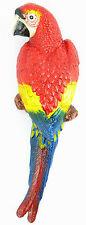Wandfigur Papagei Wanddeko Figur Skulptur Vogel ARA Gusseisen Gartenfigur ROT L