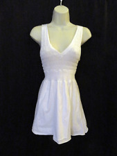 XCVI White Sleeveless Top Long Cotton Stretchy Smocked Inserts S Small