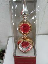 Vintage Christmas Gold Glass Double Ball Indent Tree Topper IOB