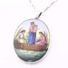 Beautiful Victorian Silver Mounted Enamel Porcelain Miniature Pendant Necklace