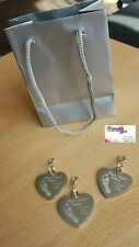 Engraved Finger /Hand/Foot Print Stainless Steel Heart Charm & clip  Attachment.