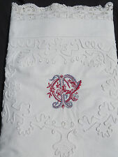 Antique C1890 Sheet WIDE Lace Ornate Monogram Center Seams King Queen 102 X 112