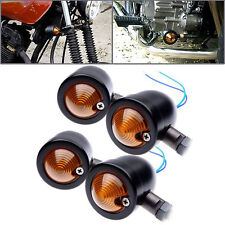 2x Black Bullet Universal Motorcycle Turn Signals Indicator Amber Blinker Lights
