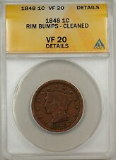 1848 Large Cent 1c Coin ANACS VF 20 Details Rim Bumps-Cleaned