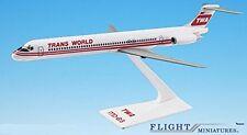 TWA (74-95) MD-80 Airplane Miniature Model Plastic Snap Fit 1:200 Part# AMD-0800