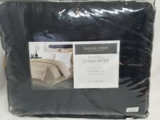 CHARTER CLUB -  Damask Stripe Reversible 500T Black Full/Queen Comforter NDP