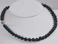 """8-9mm Natural Black Akoya Cultured Pearl Necklace 18"""" AAA"""