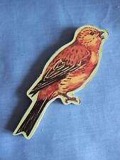 Vintage  Wooden Up-Cycled Upcycled Bird Brooch Pin YELLOWHAMMER Jigsaw