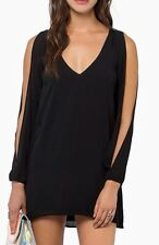 Women's Plus Sized Open Cold Shoulder Solid Black Top Tunic Blusas 2X New