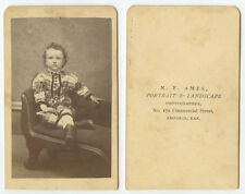 CDV STUDIO PORTRAIT CHILD IN PLAID FROM EMPORIA, KANSAS, BY AMES