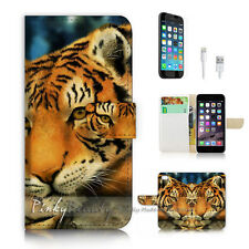 iPhone 7 PLUS (5.5') Flip Wallet Case Cover P1912 Tiger