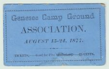 RARE - Ticket - Genesee County NY Camp Ground Association - 1877 Camping