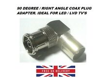 90 Degree Right Angled TV Aerial Connector Male Coax Plug to Female Socket