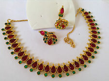 South IndianTraditional Jewellery G/R mango design necklace with earring