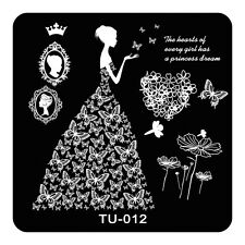 HOT Manicure TU Nail Stamping Plate Stainless Steel Nail Art Stamp Template T-12