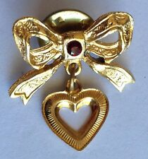 Bow And Love Heart Golden Style Small Pin Brooch Rare Vintage (H3)