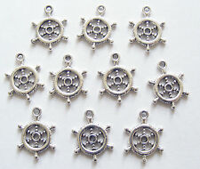 "15 Metal Antique Silver ""Captain's Wheel"" Charms - 20mm"