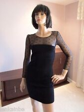 Saint Laurent LBD Little Black Dress Mini Lace Mesh Top 3/4 Sleeves Medium $1495
