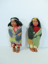 Skookum Dolls Native American Bully Good Indian Man Woman Vintage 1960s Set of 2