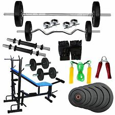 Fitfly home Gym Set With 50 kg Weight,8 in 1 bench,3ft Curl Rod,5ft Plain Rod
