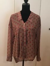 Free People Brown and Burgundy Polka Dot Long Sleeve Top Size M