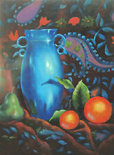 Aceo Blue Vase tapestry and oranges  print of original Oil painting