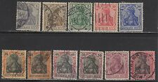 "GERMANY #80//91a -- SET (11) GERMANIA ""PRE-WAR SERIES"" -- 1905/19 -- USED"
