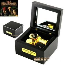 Square Black Wood Wind Up Music Box  : Pirates of Caribbean Davy Jones