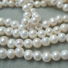 """""""A"""" White Freshwater Pearl 8-9mm Round Potato Large 2mm Bead Hole 8"""""""