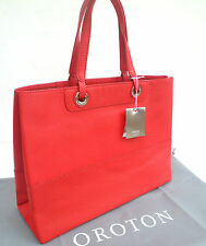 Authentic OROTON Bag Entourage Handbag Tote Shopper Genuine Leather Red RRP$345