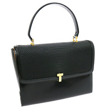 Auth TIFFANY&Co. Vintage Hand Bag Black Patent Leather Italy Old Type V08164