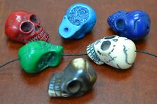 "6 PCS ASSORT COLOR CARVED SKULL HEAD RESIN BEADS 1 1/4"" #T-2162"