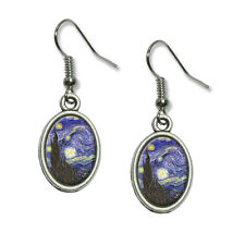 Starry Night - Vincent Van Gogh - Novelty Dangling Drop Oval Charm Earrings