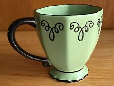 Bon Bonniere Creme De Mint Chaleur Green Footed Coffee Mug/Tea Cup Black Scroll