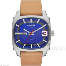 BRAND NEW DIESEL MENS BLUE DIAL TAN GENUINE LEATHER WATCH DZ1653 + ORIGINAL BOX