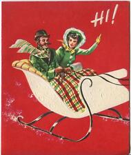VINTAGE VICTORIAN COUPLE HORSE WHITE SLEIGH RIDE EMBOSSED CHRISTMAS CARD  PRINT