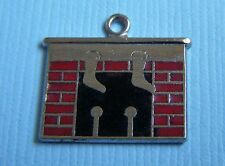 Vintage enamel Christmas fireplace hearth with stockings sterling charm
