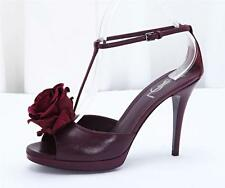 YVES SAINT LAURENT Purple Leather Suede Rose T Strap High Heel Shoe 8.5 38.5 NEW
