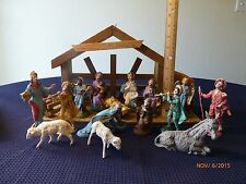 Vintage Nativity Figures Italy Composition Wood Stable Animals Lot of 15 Antique