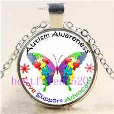 Autism Awareness Butterfly Cabochon Glass Tibet Silver Chain Pendant Necklace