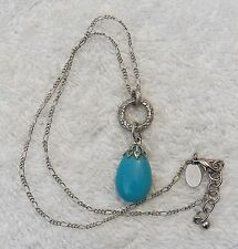 CLASSIC NECKLACE COSTUME STONE BEADED INTRICATE SILVER TONE CHAIN LINK BL VL-CHO