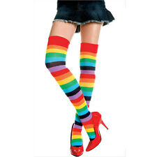 Sexy Rainbow Brite Thigh High Striped Cotton Socks Stockings Costume