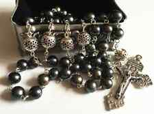 Bali Sterling Silver Beads AAA Black Tahitian Pearl Rosary Cross Necklace box