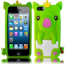 Apple iPhone 5 5S SE Rubber SILICONE Soft Skin Case Cute Crown Pig Neon Green