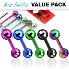 5 lot Colorful Shiny Titanium Tongue Ring Straight BARBELL Body Piercing Jewelry