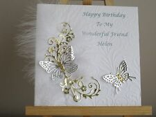 PERSONALISED HANDMADE FEATHER AND BUTTERFLY BIRTHDAY CARD - WIFE, FRIEND, SISTER