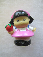 Fisher Price Little People SONYA LEE ASIAN Girl in Pink w/ APPLE Backpack Scarf
